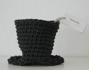 Basket, dark grey planter