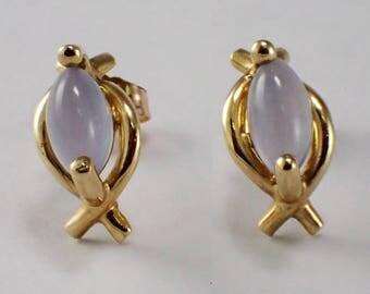 14k Yellow Gold Chalcedony Earrings