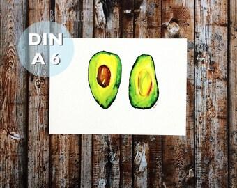 Mini Poster DIN A 6 • avocado •