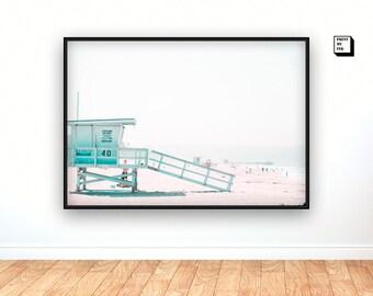 lifeguard tower print, santa monica beach photography, lifeguard stand, lifeguard hut, california beach wall art, beach digital art print