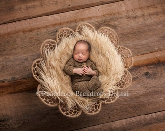 Digital Backdrops/Props (Newborn Photo Prop,  Dreamcatcher Bowl Top View with cream fur Newborn Prop on Warm Textured wood) Digital Download