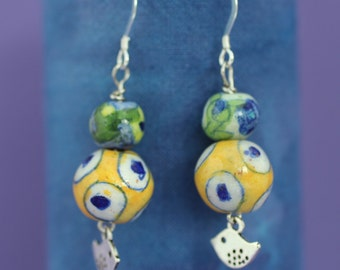 Jaipur Blue Pottery Bead Earrings, One of a Kind, OOAK, Gift for Mum, Gift for Wife