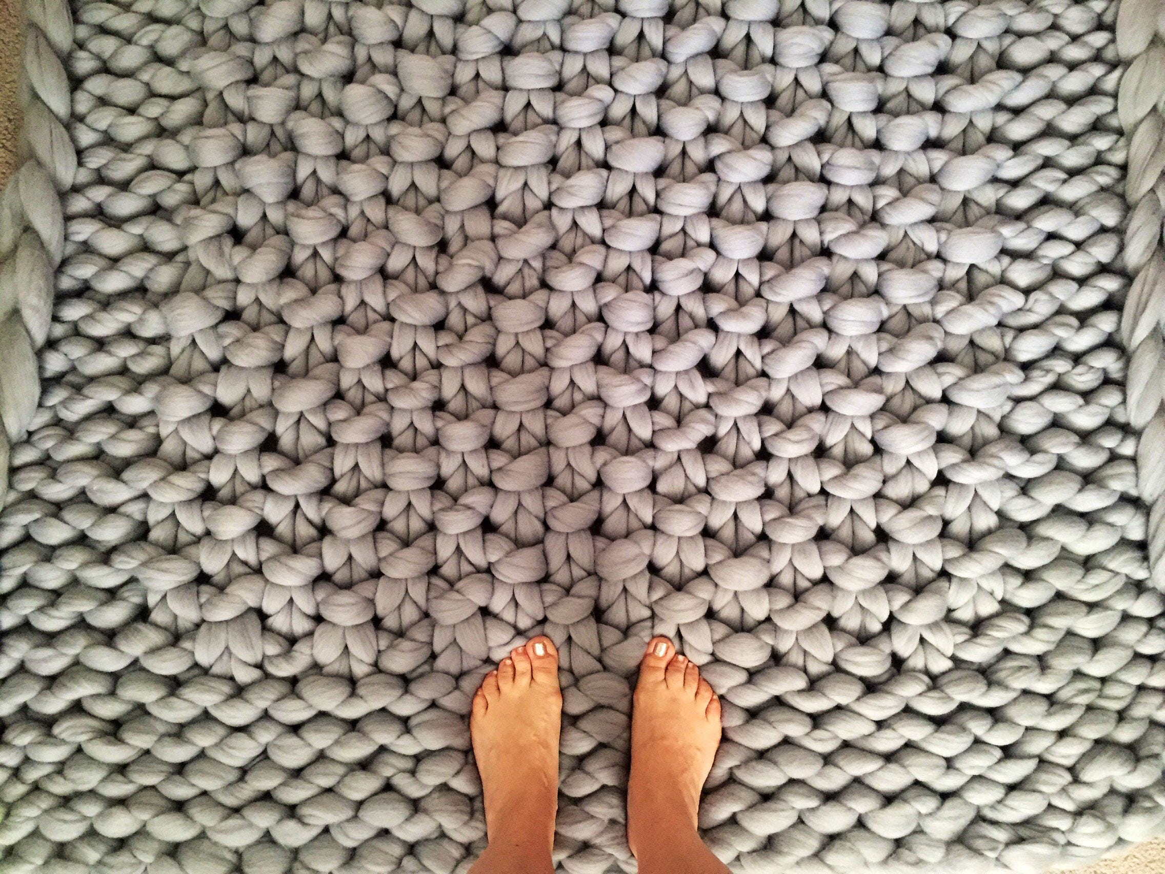 Rug, Chunky Knit Carpet, Merino Wool Rug, Giant Knit Carpet, Knitted Carpet