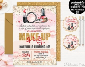 Printable Makeup Party Girl Birthday Invitation Template. Make up Party Invitation. Glamour Birthday Invitation. 10th Birthday Invitation