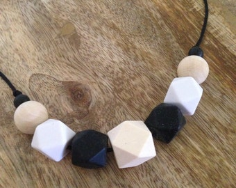 Silicone and eco wood necklace, neutral silicone necklace