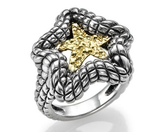 Sterling Silver Ring With 9K Gold Shiny Star