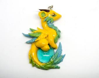 Yellow dragon pendant necklace