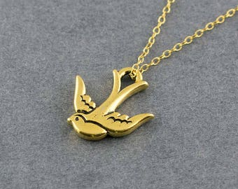 Gold Swallow Charm Necklace