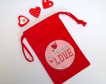 """Mini fabric bag red Valentine's day, """"All you need is love"""" 15 x 9, 5"""