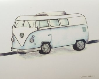 Light Blue VW Bus Drawing Print