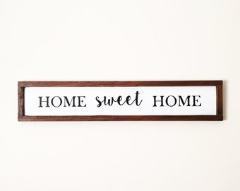 Rustic Framed Home Sweet Home Sign, Farmhouse Sign, Framed Pallet Sign, Housewarming Gift, Welcome Sign, Rustic Decor