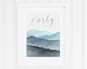 Watercolor Cosby Tennessee Print | Smoky Mountain Watercolor Art | Great Smoky Mountains Watercolor Painting | Cosby Tennessee Mountains