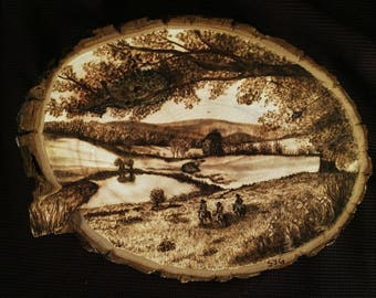 Handmade Wood Burning of Vermont Landscape and Riders