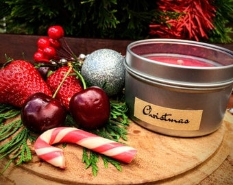 Christmas Scented Premium Natural Soy Wax Container Candle In Medium Clear Lid Metal Travel Tin - 6oz - 100g