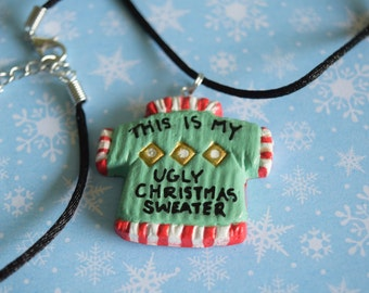 Ugly Christmas Sweater Satin Cord Necklace, This is My Ugly Christmas Sweater, Holiday Necklaces, Funny Christmas Sweater Party Jewelry