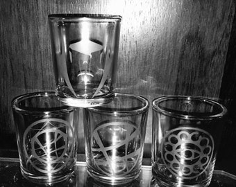 Doctor Strange set of 4 hand etched shot glasses