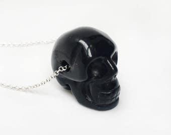 Black Agatha Skull, necklace silver
