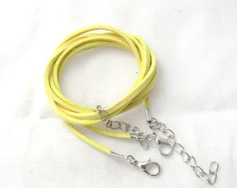 """2 Faux Suede Cord Necklaces with Lobster Clasps 17.7"""" Yellow (B150a2)"""