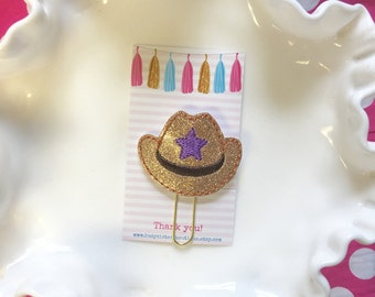 Planner clip - glitter cowgirl hat