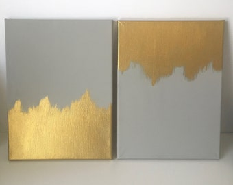 Set of Two Grey and Gold Abstract Canvas Set