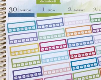 Weekly habit tracker planner stickers, routine tracker, sidebar stickers, functional stickers for Erin Condren, Happy Planner, Filofax, TN