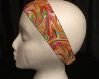 Fabric headband, elastic headband, blue hair band, multicolored hair brand, orange headband, green headband, handmade, reversible headband