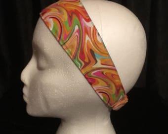 Fabric headband, elastic headband, blue hair band, multicolored hair brand, orange headband, green headband, handmade, reversible headband
