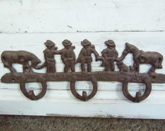 Cast Iron Hooks - Western Cowboys and Horses Wall Hooks