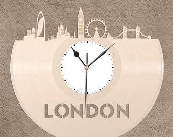London Clock - London Skyline Art, London England, London Cityscape Art, Big Ben, London Eye, London Bridge, Unique Wall Clock,  Gift Idea