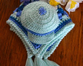 Tri-Color Crochet Baby Blanket and Newsboy Cap Set Granny Square Quilt Matching Hat, Newborn