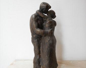 Home sculpture, Мodern sculpture, Bronze sculpture, Bronze statue of Kiss  , Limited edition, Small sculptural plastic