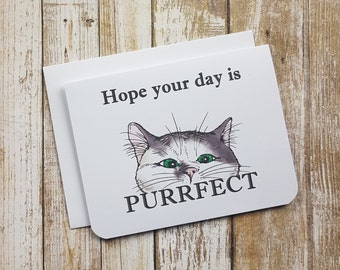 Celebration Card - Hope Your Day Is Purrfect - Cat - Pun - Cute - Funny - Birthday - Anniversary - Wedding - New Job