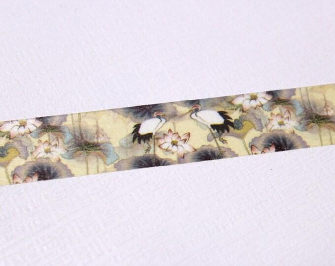 Dancing Cranes Washi Tape - Washi Tape - Oriental Washi Tape - Paper Tape - Planner Washi Tape - Washi - Decorative Tape - Deco Paper Tape
