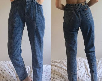 """Vintage Lee Riders 30.5"""" high waisted acid wash mom jeans 90's zipper detail"""
