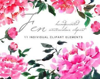 Pink Peonies - Flower Clipart - Fen