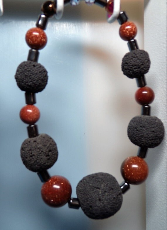 Lava Rock - Hematite Men's Bracelet
