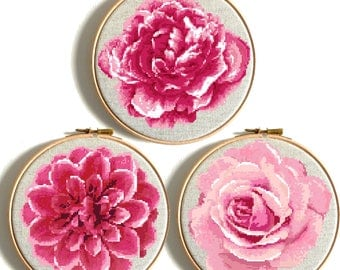 Floral Cross Stitch Printable PDF Pattern Set 3 in 1 Rose Dahlia Floral Pink Modern DIY Birthday Gift Embroidery Chart Wedding Gift Counted