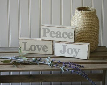 Wood signs, sign set, rustic sign, country sign,  Love Joy Peace