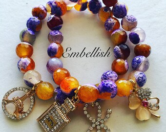 Colorful Agate gemstone bracelets