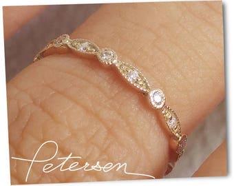 Rose Gold Art Deco Wedding Band, Rose Gold Vintage Wedding Band, Milgrain Wedding Ring, Diamond Wedding Band, Vintage Diamond Ring in  gold