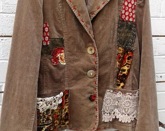 Upcycled women's corduroy jacket, size M