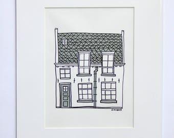 House 'Coninckstraat II' Acryl Paint Drawing Architecture Amersfoort
