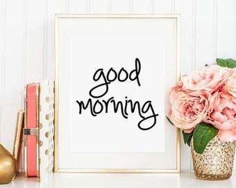 Good morning Good night, Black & white print, Modern Minimalist, Nursery art, Nursery printables, Quote art, Bedroom art set, PRINTABLE art