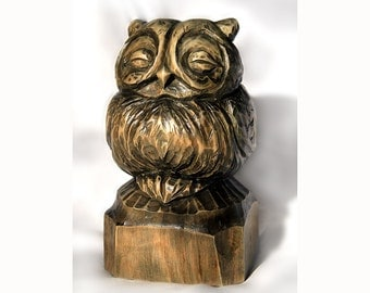 Wood statue Home decor Animal statue Animal figure Owl statue Wooden statue Wooden home decor Wooden owl statue Owl figure Owl figurine
