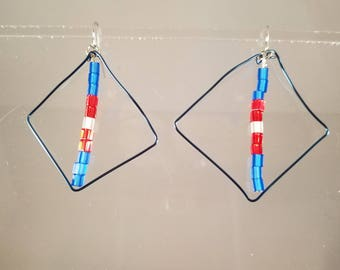 Unique Formed Diamond Blue Gauged Wire Cube Glass Beads Patriotic Earrings