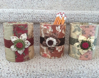 Up cycled Tins, scrappy fabric tins
