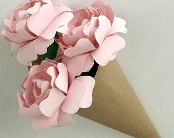 Blush Pink Paper Peonies | Bouquet Paper Flowers | Paper Blooms | Peony Inspired Decor, Set of 3