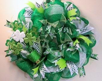 St Patricks Day Wreath, Wreath, Shamrock Wreath, St. Patrick's Day, Front Door Wreath, Ribbon Wreath, Deco Mesh Wreath, FREE SHIPPING