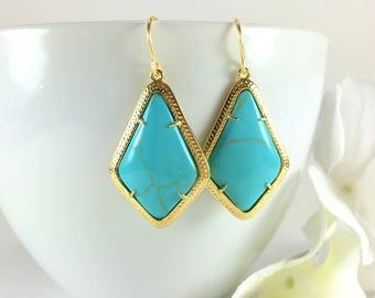 Gold Turquoise Earrings Gemstone Earrings Turquoise Dangle Drop Chandelier Earrings Boho Chic Turquoise Jewelry Turquoise Teardrop Earrings