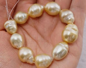 16mm to 13mm Golden Baroque South Sea Pearl- 10 Pieces- PS1014